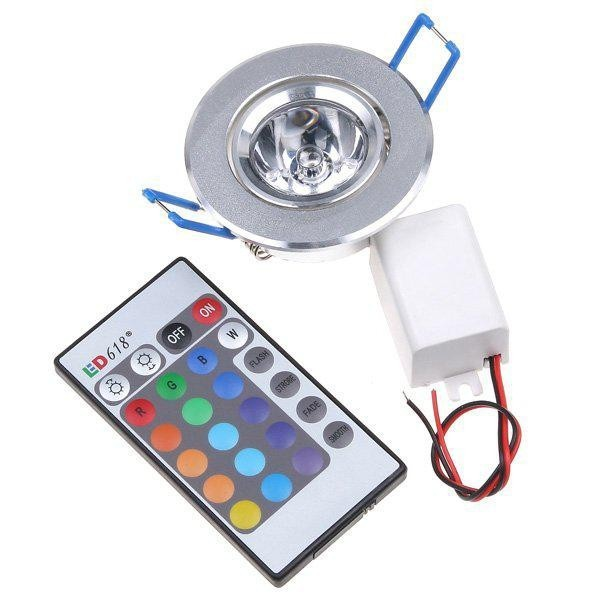 1pcs 3W RGB LED Ceiling Panel Downlight lighting AC85-265V lED Downlight Bulb Lamps with Remote Control Free shipping from China(China (Mainland))