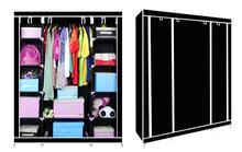 3 türen neue kabinett kleiderschrank schrank gewebe in 175* 110* 75cm schwarze farbe schlafzimmer schrank baby boite de rangement(China (Mainland))