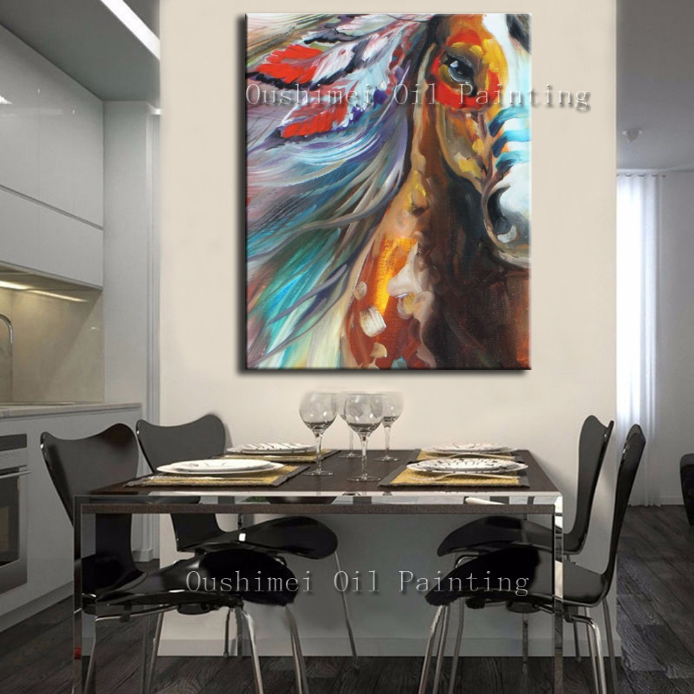 Free Shipping Abstract Running Horse Handmade Senior Painter Decoration as Gift Cheap Price Knife Palette Oil Painting on Canvas(China (Mainland))