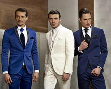 Groom Tuxedos Blue White Navy Wedding Suits Men Shawl Lapel One Button Groomsman Ja - Good clothing store again
