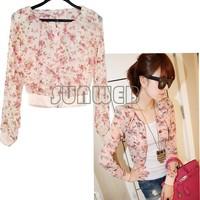 Women Fashion Long Sleeve Floral Print Shrug Short Jacket Chiffon Top 3 Colors free shipping 51