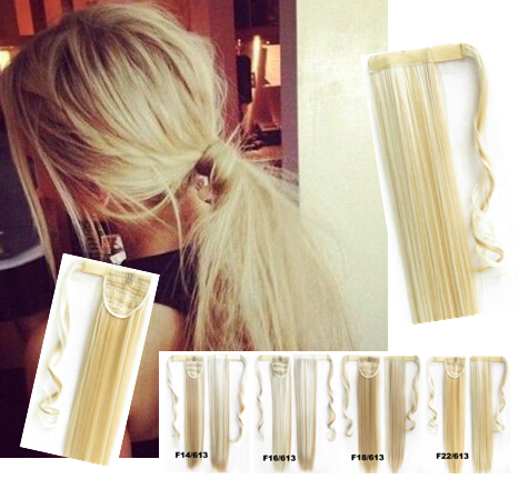 2015 22 Inch 55cm 90g Straight Synthetic Hair Weave Wrap Around For Ponytail Extension Clip In #22/613 Light Blonde/lightest(China (Mainland))