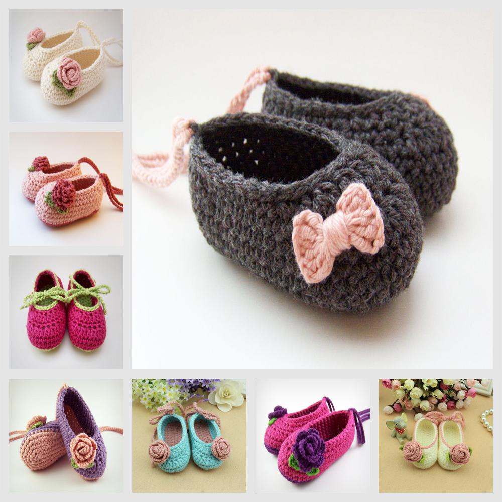 Hot Retail Baby Girl Crochet Flor Zapato Para 0-12Months Bebé de La Muchacha Primero caminar Zapatilla Colores Mezclados Toddler Crochet Botín(China (Mainland))