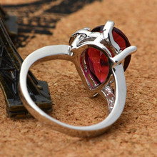 Free Shipping Top quality Ruby Big Rings for women Top Quality 18K Gold Plated Jewelry CZ