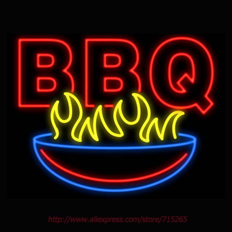 BBQ with Grill Neon Sign Signage Board Neon Bulbs Real GlassTube Handcrafted Decorate Window Display Super Bright Attract 31x24(China (Mainland))