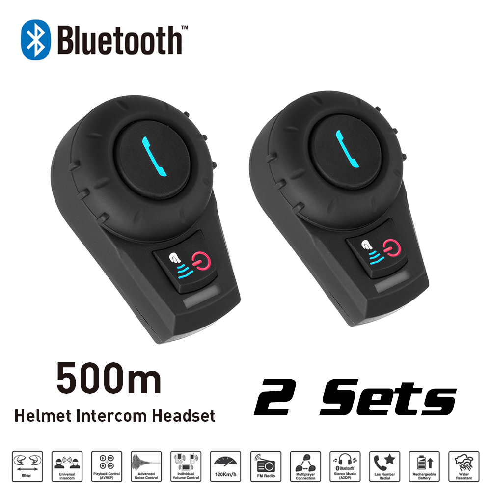New 2 Sets 500M BT Bluetooth FM Radio Motorcycle Helmet Intercom Interphone Headset intercomunicador for Phone/GPS/MP3