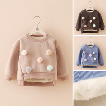 Hot 2015 Fall Winter Little Kids Cute Velvet Warm Sweater With Removable Balls Boys Girls Fashion Thickening Pullover Coat G309(China (Mainland))