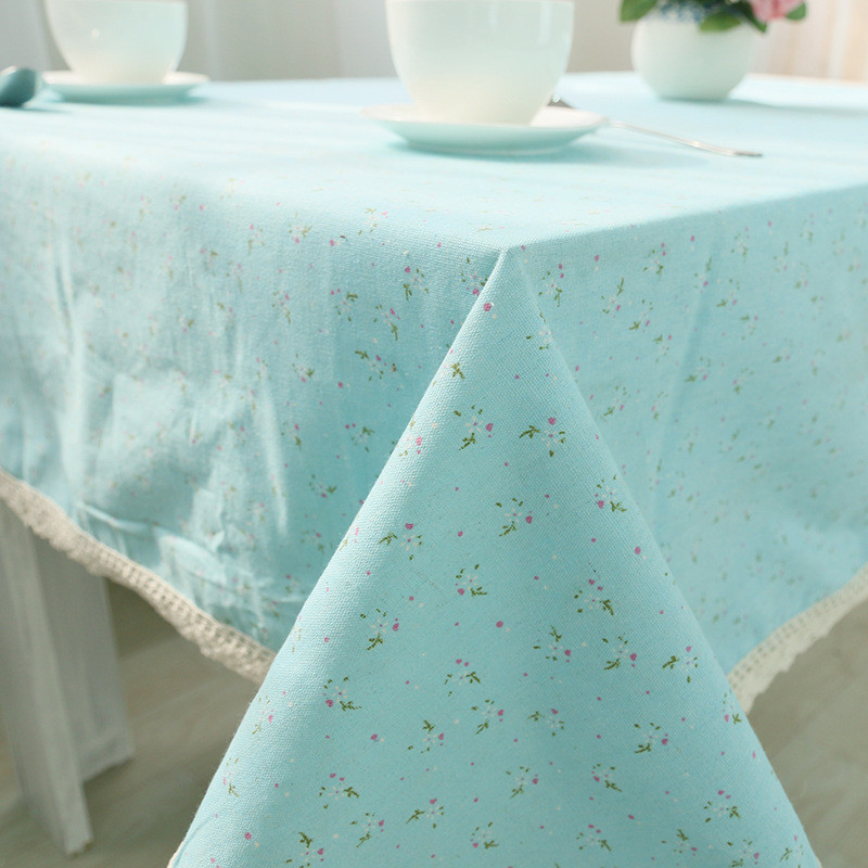 Korean Pastoral Home Textile Rectangle Printed Floral Cotton Linen Dinning Table Cover Fabric Tablecloth on The Table Decoration(China (Mainland))