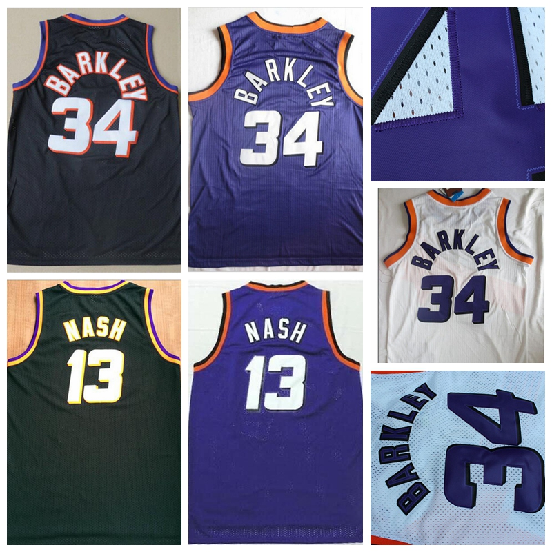Mens #13 Retro Steve Nash Jersey Stitched Wholesale Cheap High Quality #34 Charles Barkley Jersey Throwback Basketball Jersey(China (Mainland))
