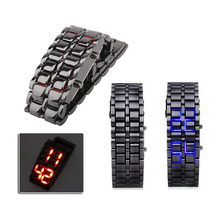 New Fashion Men Women Lava Iron Samurai Metal LED Faceless Bracelet Watch Wristwatch