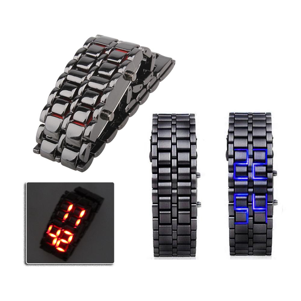 New Fashion Men Women Lava Iron Samurai Metal LED Faceless Bracelet Watch Wristwatch(China (Mainland))