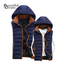 Hot Sale Stars Loves Brand New Arrival Slim Man Vest 2014 Autumn Winters Hooded Cotton Padded Men's Vests 4 Colors 5 Size