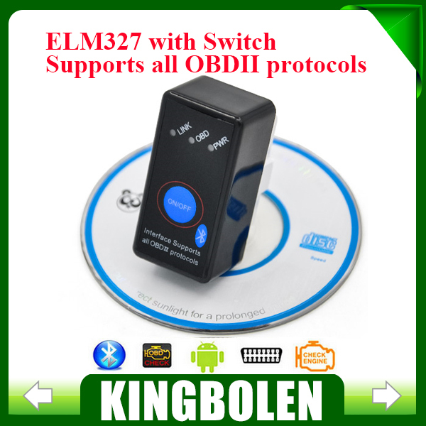 Super Mini ELM327 with switch ELM 327 Bluetooth OBD2 OBD II CAN-BUS Diagnostic Tool + Switch Works on Android Symbian Windows(China (Mainland))