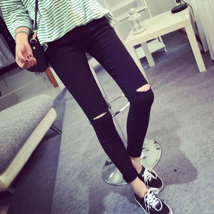 Гаджет  2015 High Elastic Fashion Cotton Womens Black High Waist Torn Jeans Ripped Hole Knee Skinny Pencil Pants Slim Capris For Women None Одежда и аксессуары