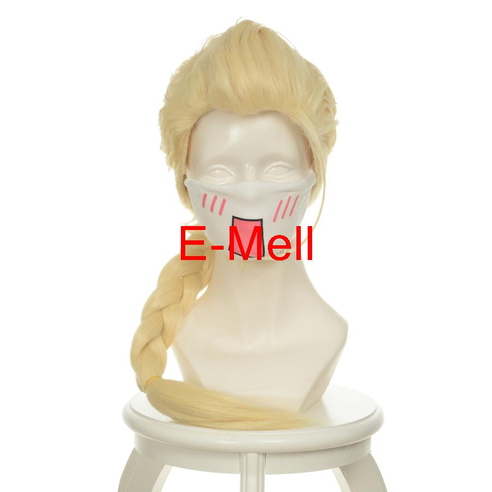 25.6inch/ 65cm Cospaly Elsa парик long straight hair High Temperature Light Gold Hair 336B