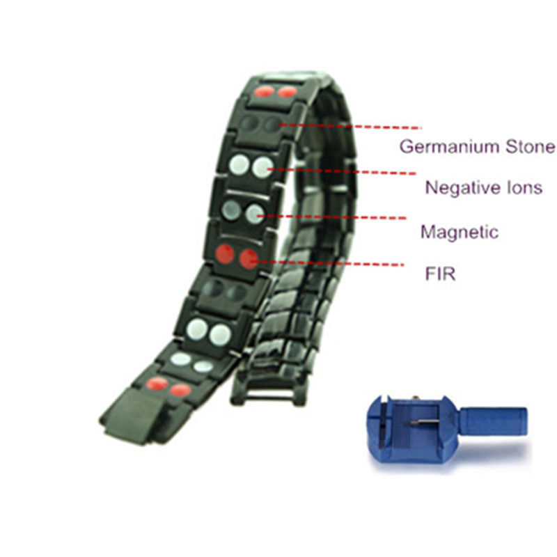 Stainless Steel Bracelet with Magnet Stone or Germanium White Ion and FIR Stone 4 in 1 Far Infrared Energy Magnetic Bracelet(China (Mainland))