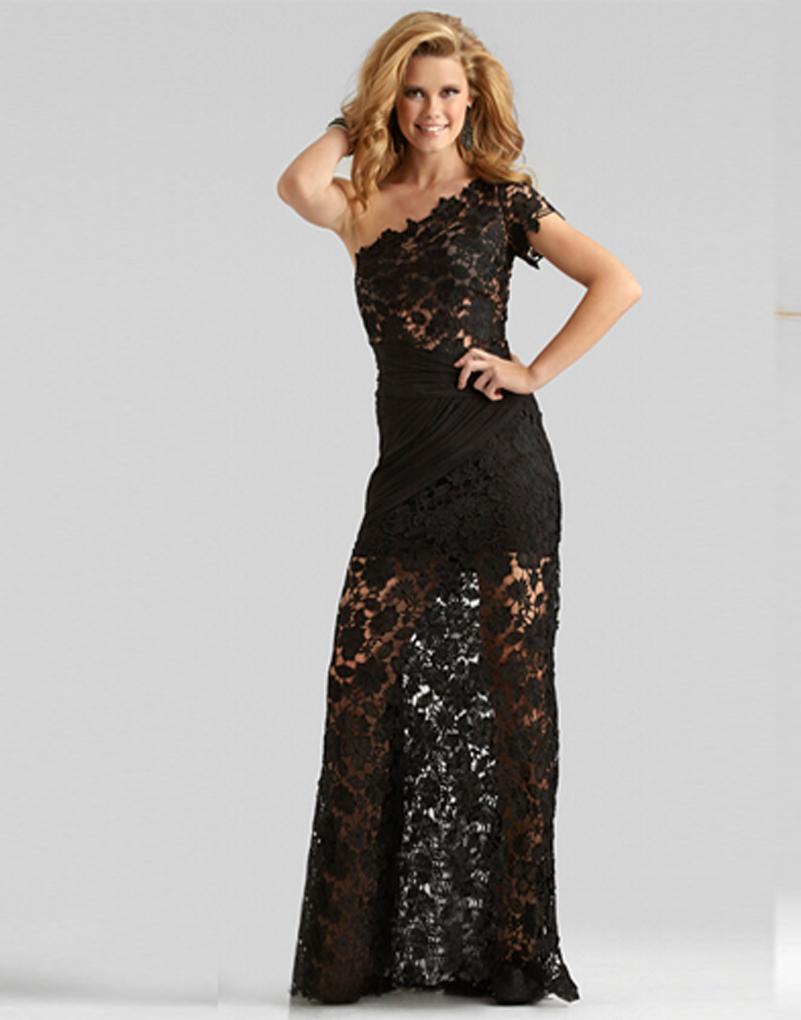 Vestido лонго длина пола одно плечо кружева пром платья черные складки длинные платья пром развертки поезд вечерние платья бесплатная доставка