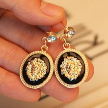 New Europe And The United States Jewelry Metal Texture Lion Head Earrings for women gift(China (Mainland))