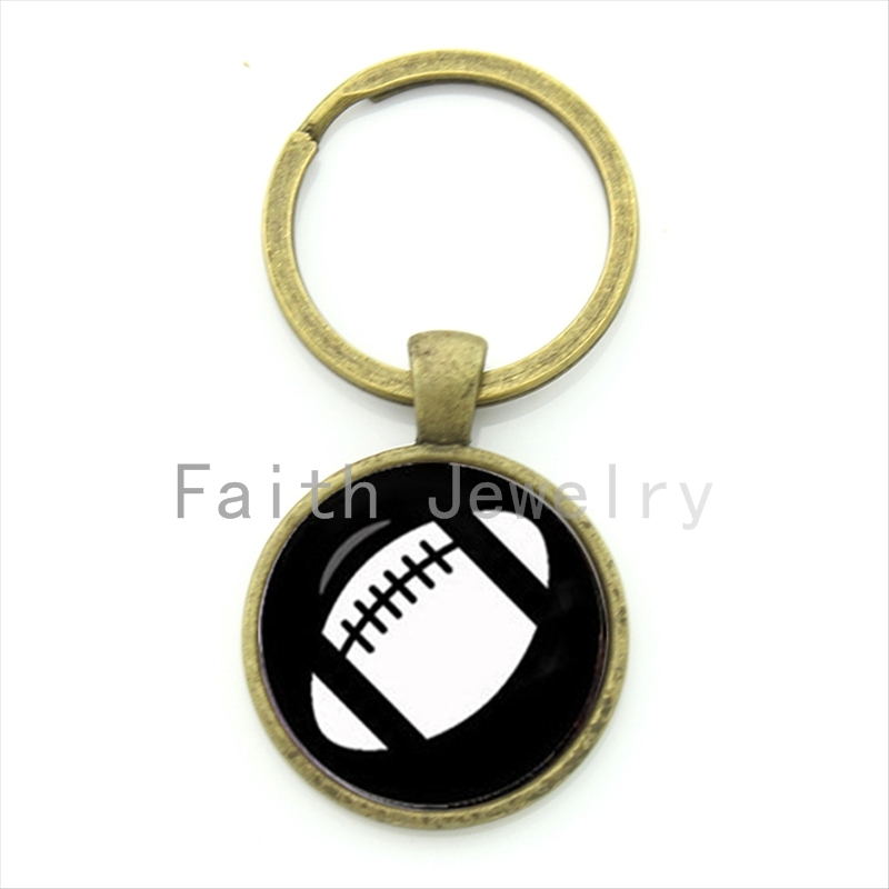 Fashion leisure sport jewelry American rugby pattern keychain vintage simple design key chain gifts for fans sports events KC517(China (Mainland))