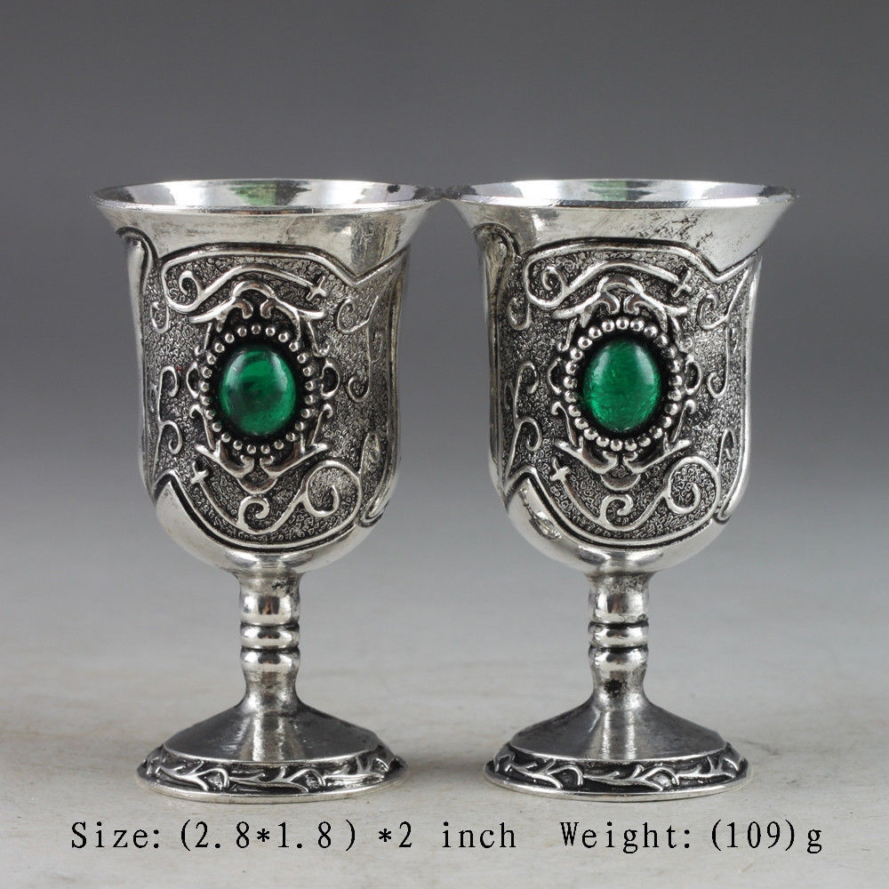 First-class Chinese ancient manual collection a pair of miao silver inlaid turquoise goblet(China (Mainland))