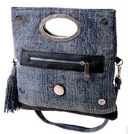 2014 Multi-functional set auger denim genuine leather girl's hand bag women messenger bags handbag Evening