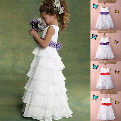 Retail 2016 new sleeveless Waist Chiffon Dress Girls Toddler 3D Flower Tutu Layered Princess Party Bow Kids Formal Dress(China (Mainland))