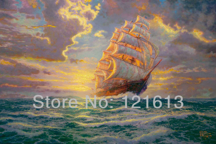Landscape Seascape Canvas Prints Thomas Kinkade Oil Painting Printed On Canvas Home Decoration Courageous Voyage Free Shipping(China (Mainland))