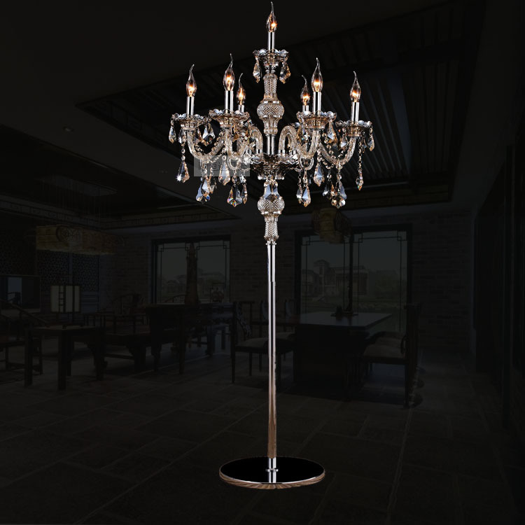 7Heads Crystal floor lamp cognac crystal lights stand lamp living room bedroom luxury candle floor lamp Crystal(China (Mainland))