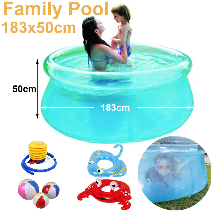 see through clear diameter 180cm transparent blue above ground pool family inflatable play swimming pool adult easy set prompt(China (Mainland))