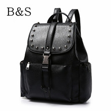 New Popular 2016 Korean Black Leather Women Backpacks For Teenage Girls Luxury Punk Style Youth Student School Bags Mochila