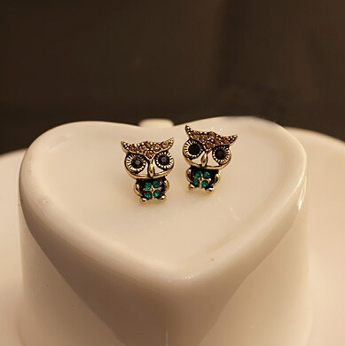 Free shipping $10 (Mix. order ) New 2015 Hot Fashion Cute Vintage Owl Rhinestone Earrings Wholesales Dorp shopping E125(China (Mainland))
