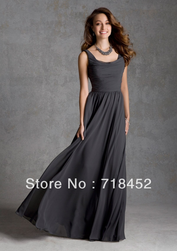 Images of Dark Grey Long Dress - Reikian