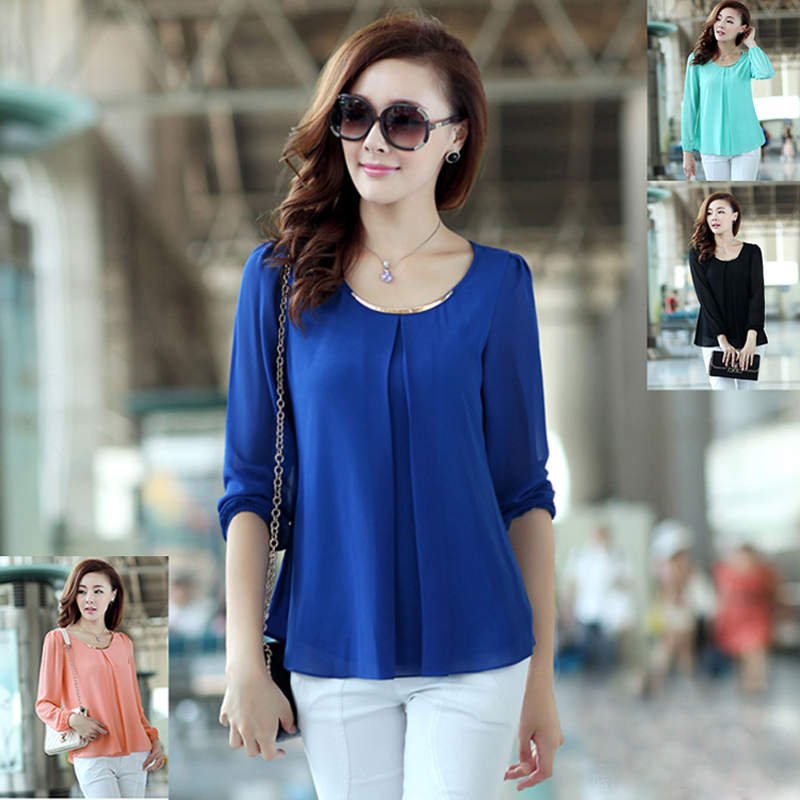 New 2015 College Student Clothing Chiffon Blouses Turn ...
