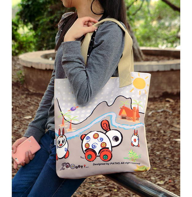 Fashion bags canvas shopping bag color printing one shoulder tote handbag totebag male women's customize