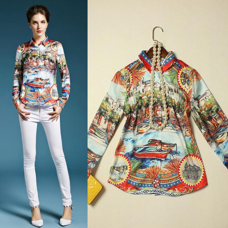 New Tops Fashion 2016 Spring Blouses Women Turn-down Collar Vintage Boat Print Long Sleeve Casual Shirt Ladies Vintage Blusas(China (Mainland))