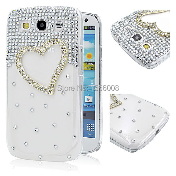 Diy Fashion New Case For Samsung Galaxy S3 Shining 3D Crystal Bling Case I9300 Phone Case Cover Protective Love Heart Design(China (Mainland))