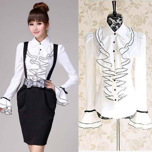 White Long Sleeve Blouse With Ruffles 81