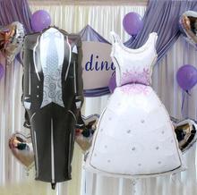 2 unids/par novia y el novio vestido globos de papel de aluminio de boda para fiesta de compromiso globo mylar baloes fiesta de aniversario