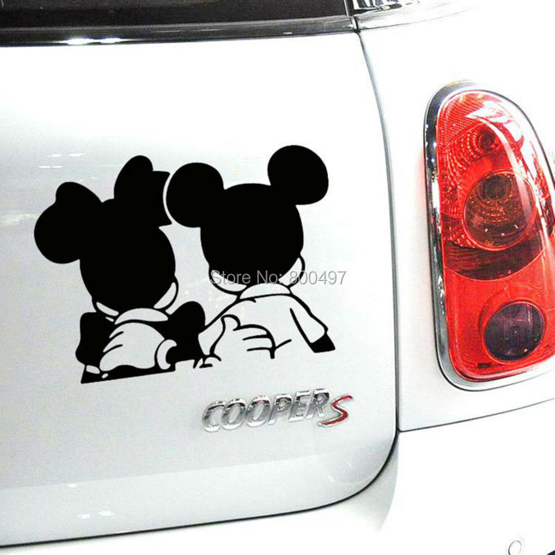 10 x Newest Design Car Styling Funny Reflective Mickey Minnie Stickers for Car Tesla Volkswagen Ford Toyota Renault Opel Lada(China (Mainland))