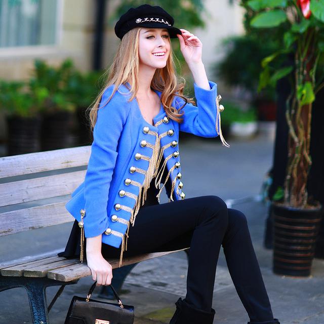 Оригинальный 2016 Бренд Осенью и Зимой Куртка Небесно-Голубой Двубортный Плюс Размер Тонкий Вскользь Шерсти Женщин Пальто Женщин Оптовая