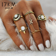 Buy 17KM 5pcs/Set Boho Beach Flower Tibetan Moon Sun Midi ring Sets Women Knuckle Siamese Chain Mittens Rings Gift for $1.69 in AliExpress store