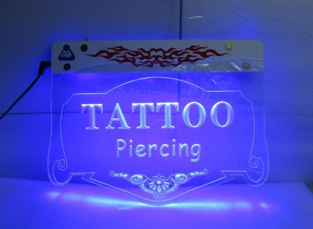 Free shipping Tattoo Piercing Art Awesome Designer Open LED Light Sign blue light