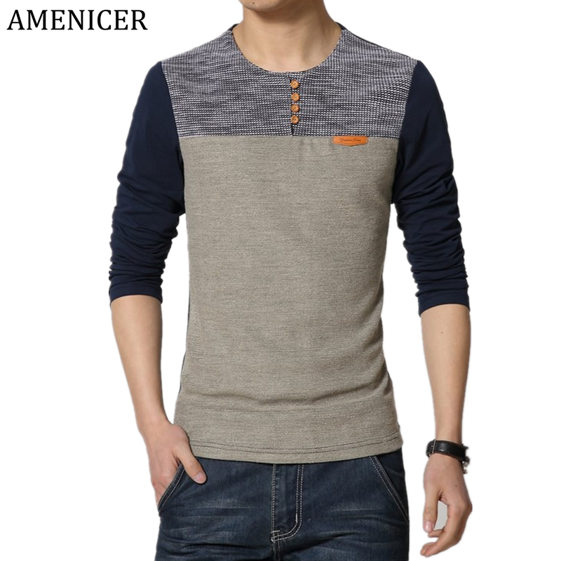 Mens T Shirt Long Full Sleeve Blue O-Neck Patchwork Tshirt Homme Brand Clothing Fun Hip Hop Men'S Sportswear Camisetas Hombre(China (Mainland))