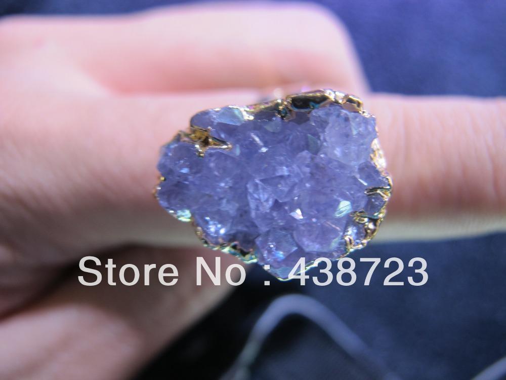 Amethyst ring 10pcs/lot Geode Amethyst Druzy gem stone jewelry Ring free<br><br>Aliexpress