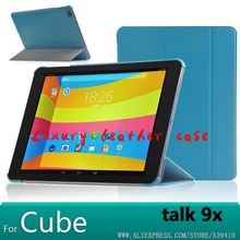 For Cube Talk 9X case Smart stand Leather Case cover For Cube talk 9X U65GT 9.7 inch Tablet funda cover case +screen protectors
