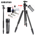 ASHANKS A84C Loading 15KG Carbon Fiber Portable Tripod with Ball Head Compact Travel for Canon Sony
