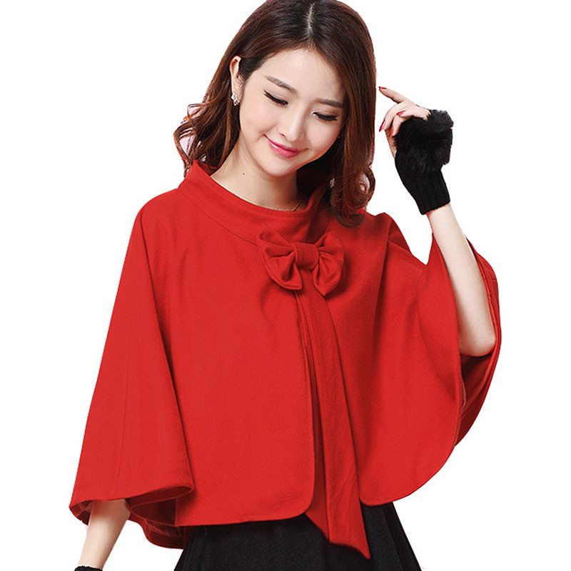 New arrival spring autumn ladies red poncho capas mujer 2015 elegant short bow cape coat women manteau poncho(China (Mainland))