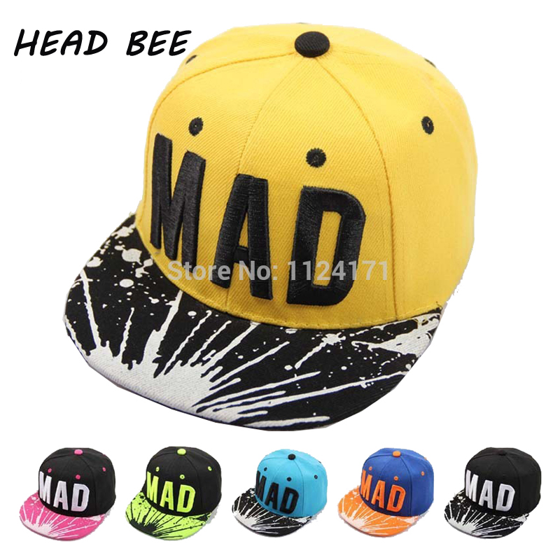 2017 Trend Snapback Bone Child Embroidery MAD Letter Baseball Caps Kid Boys And Girls Flat Hip Hop Cap(China (Mainland))