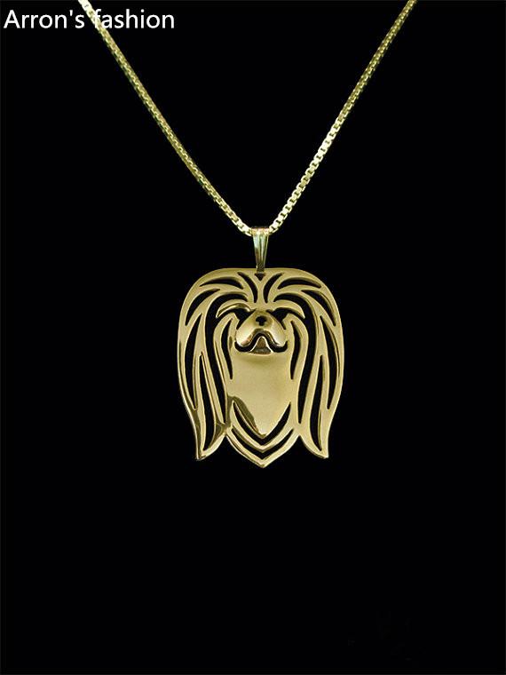 Trendy Pekingese pendant necklace women18K gold silver dog jewelry statement necklace men cs go online shopping india wholesale(China (Mainland))