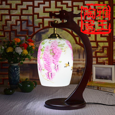 Chinese Style Jingdezhen E27 90-260V Retro Ceramic Lighting Desk Lamp Hand-painted Purple Flower Porcelain Table Lamp(China (Mainland))